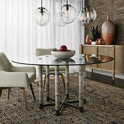 60 W Glass Top Dining Table Unfilled Stone Pillar Legs Modern Metal Base