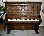 Antique 1890's Russell And Lane - Chicago - Upright Piano And Stool W/ Tiger Oak