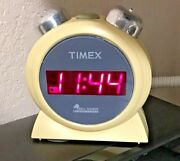 Rare Timex Bell Sounds Alarm Clock T127 Yellow Digital Battery Backup Chimes