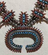 Navajo Silver Coral Sleeping Beauty Turquoise Squash Blossom Victor Moses Begay