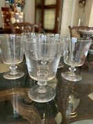 Set Of 5 Steuben Water Goblets Signed Pre- Owned Mint Condition