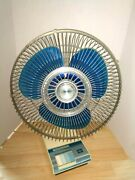 Vintage Lasko Blue White Oscillating Fan 12 3 Speed Tested And Works No. E20739
