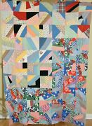 Colorful Vintage 30and039s Cotton Crazy Quilt Top Nice Stained Glass Design