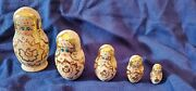 Hand Painted Vintage Lacquer Wood Russian Nesting Dolls Set Of 5 Signed 4 1/2