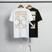 New Off White Short Sleeve T-shirt Men Tape Arrow Casual Cotton T-shirts Tee