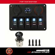 5 Gang On-off Toggle Switch Panel 12v For Car Boat Marine Rv Truck Camper