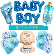 16 Pcs Boy Blue Baby Shower Party Decorations Supplies Balloons Sash Banners Kit