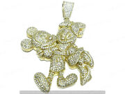 3ct Sim Diamonds Mens Couple Micky Mouse Love Charm Pendant 14k Yellow Gold Over