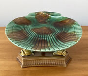 Stunning Antique Majolica Shell And Dolphin Cake Stand Pottery Footed Plate