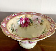 Antique Nippon Hand Painted Scalloped Moriage Footed Bowl