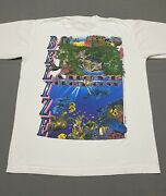 Vintage 90s Belize Nature Tee Shirt Size Large Land And Water Animals White