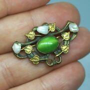 Art Nouveau Vintage Real Mississippi River Pearl Green Satin Glass Brooch Pin