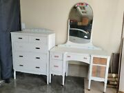 Antique Furniture. Dresser And Vanity With Mirror.