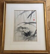 Antique Japanese Original Ink Sumi-e Painting On Silk Signed And Sealed. 19th C.