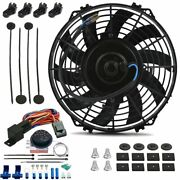 9 Inch Electric Trans Cooling Fan Adjustable Thermostat Temperature Switch Kit