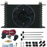 13 Row 10an Transmission Cooler Electric Fan 3/8 Npt 180f Thermostat Switch Kit