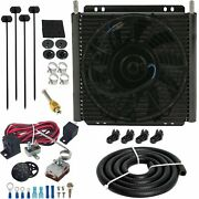 30 Row Truck Suv Rv Transmission Oil Cooler Fan Adjustable Thermostat Switch Kit