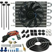 8 Row Engine Transmission Oil Cooling Electric Fan 3/8 180f Thermostat Wire Kit