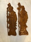Antique Vintage Chinese Japanese Carved Wooden Wood Wall Plaque Panels Lot Of 2