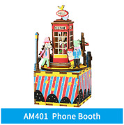 1pcs Phone Booth Game 3d Wooden Puzzle Musical Toy Model Building Kit Fun Gift