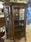 Antique Victorian Carved Griffin/paw Curved Glass Bookcase China Cabinet