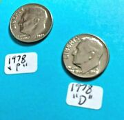 1978 P And D Roosevelt Dime -2 Coin Set