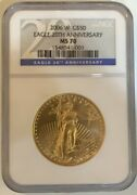 2006-w 1 Oz Gold American 50 Eagle Coin Ngc Ms70 - 20th Anniversary