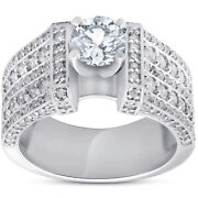 G/si 2 Ct Diamond Engagement Ring Wide Multi Row 14k White Gold