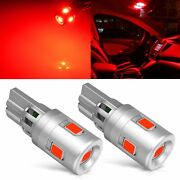 2x T10 3030 Smd Led Red Car Interior Trunk Dome Lights Bulb 194 2825 W5w 3000k