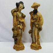 Artmark Vintage Oriental Bird Man Woman Figurines Made In Italy 10 Tall