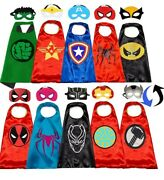 Superhero Capes And Masks For Kids Cosplay Costumes Dress Up 2 Side Lot Heroes