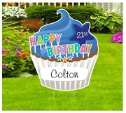Happy Birthday Cupcake Lawn Sign, Personalized Name Yard Party Decoration Gifts