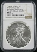 2013 W Annual Dollar Coin Set Burnished American Silver Eagle Ngc Ms 70