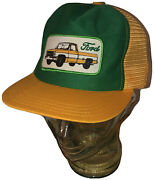 Vintage 80s Ford Truck Yellow Gold Green Trucker Hat Cap Snapback Patch Usa Made
