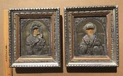 Two Antique Greek Orthodox Icons St. Nicholas And Mother Of God Silver Oklad