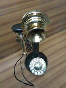Antique Candlestick Black Phone Rotary Working Landline Telephone Collectible