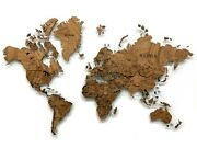 Wooden World Map Made Of Solid African Mahogany Multi-level 3d Wall Art Decor