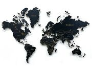 Wooden World Map Black With Engraved Wood Color Wall Art Modern Home Decoration