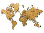 World Map Of Natural Veneer Of American Red Oak Wall Art Decor Home Decoration