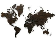 World Map Made Of Solid Wenge Multi-level 3d Wall Art Decor Home Decoration