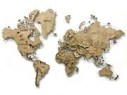 Wood World Map Made Of Solid Maple Multi-level 3d Wall Art Decor Home Decoration