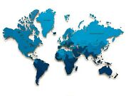 Multi-level Map Of The World Deep Blue Color 3d Wall Art Decor Home Decoration