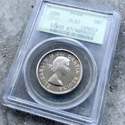 1956 Canada 50 Cent Silver Coin One Dollar Proof Like Pcgs Gem Pl 67 Old Holder