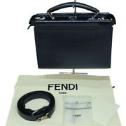 Fendi Peekaboo Iconic Fit Mini Handbag Navy Blue Leather Shoulder Bag 7va422