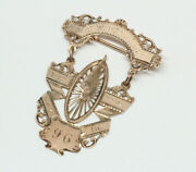 Antique 10k Rose Gold Bicycle Race Award Medal - Dated 1896