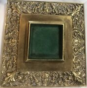 Antique Brass Desk Inkwell Set Glass Insert Holder Faces And Floral