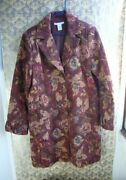 Cabi Burgundy Floral Jacobean Tapestry Coat 749 Size 16 Ruffle Sleeve Lined Euc