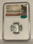 1943 S Ms67+ 1c Lincoln Steel Wheat Cent Ngc San Francisco Mint. Key Date Cac