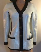 Rare Museum Runway Vintage Black And White Sequin Scuba Jacket