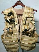 British Army Desert Molle Compatible Load Carrying Tactical Ops Vest + 5 Pouches